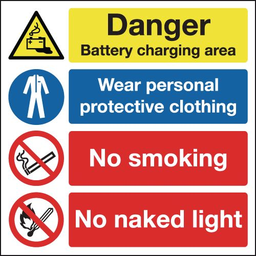 300 x 300 mm Danger Battery Charging Area Safety Signs