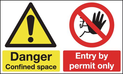 150 x 300 mm danger confined space entry by self adhesive vinyl labels.