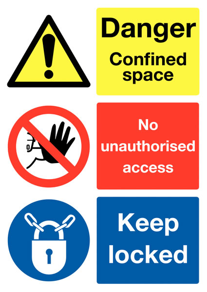 A2 danger confined space no unauthorised self adhesive vinyl labels.