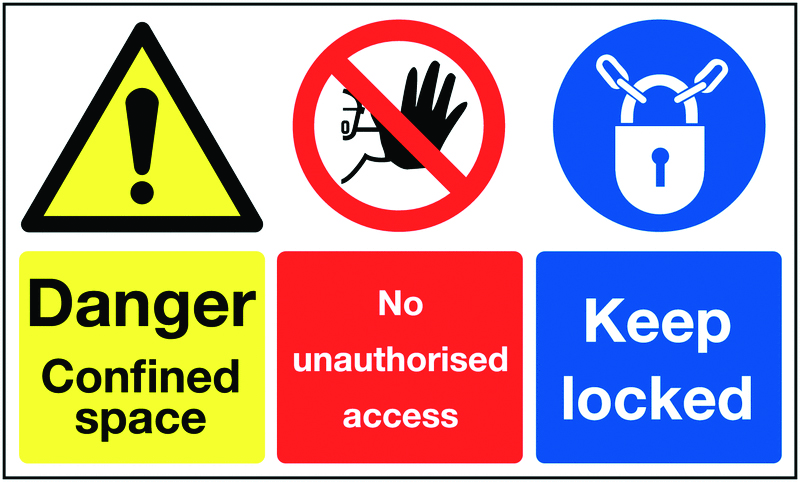 150 x 300 mm danger confined space no self adhesive vinyl labels.