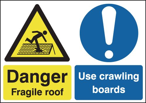 UK fragile roof labels - 400 x 300 mm danger fragile roof use crawling self adhesive vinyl labels.
