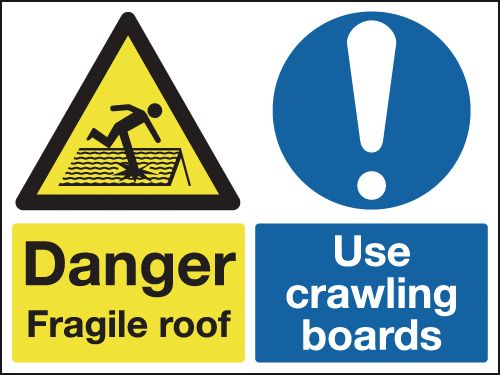 UK fragile roof labels - 450 x 600 mm danger fragile roof use crawling self adhesive vinyl labels.