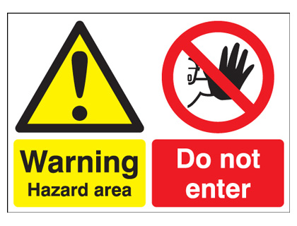 400 x 300 mm danger hazard area do not enter self adhesive vinyl labels.