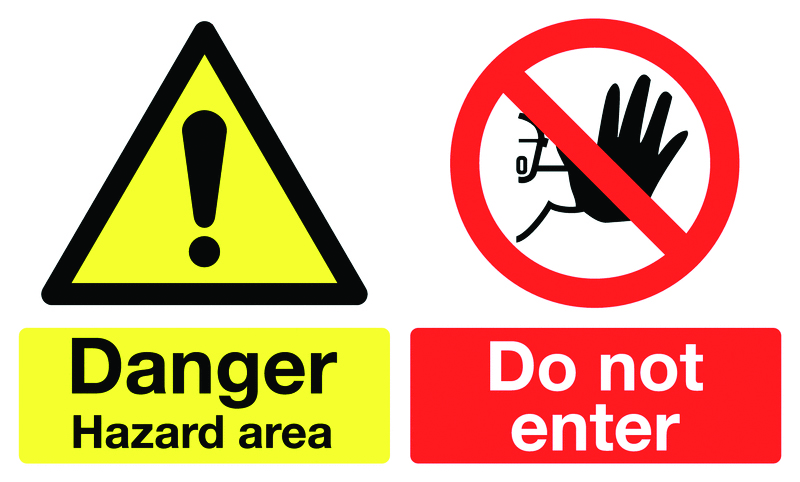 300 x 500 mm danger hazard area do not enter self adhesive vinyl labels.