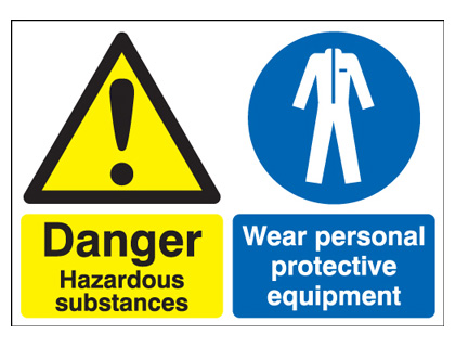 A3 danger hazardous substances wear 1.2 mm rigid plastic signs with self adhesive backing.