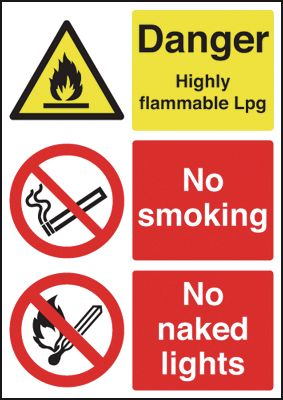 A5 danger highly flammable lpg no self adhesive vinyl labels.