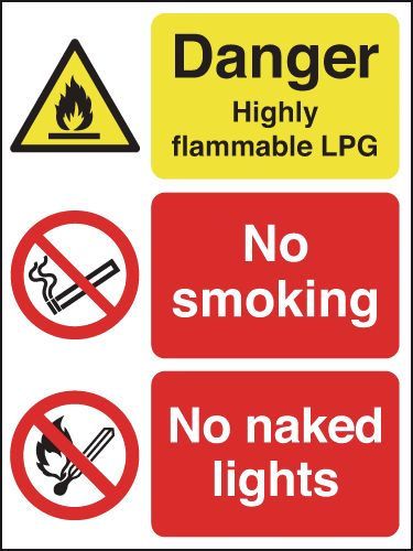 400 x 300 mm Danger Highly Flammable Lpg No Safety Signs