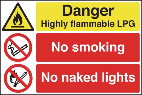 UK hazard signs - 400 x 600 mm danger highly flammable lpg no self adhesive vinyl labels.