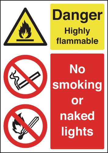 A3 danger highly flammable no smoking or self adhesive vinyl labels.