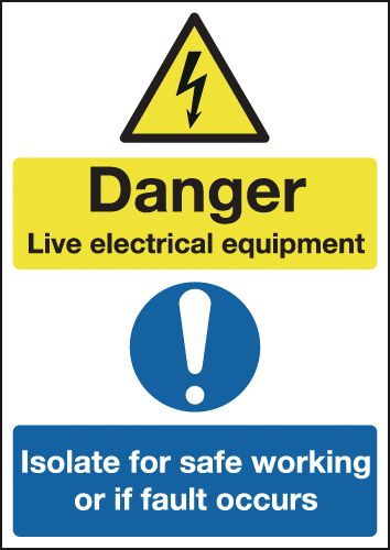 A3 Danger Live Electrical Equipment Safety Labels