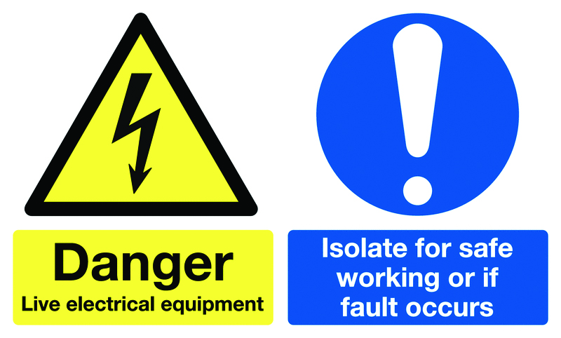 150 x 300 mm danger live electrical equipment self adhesive vinyl labels.