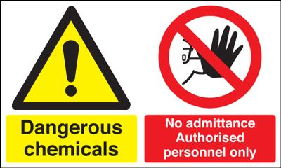 300 x 500 mm dangerous chemicals no 1.2 mm rigid plastic signs with self adhesive backing.