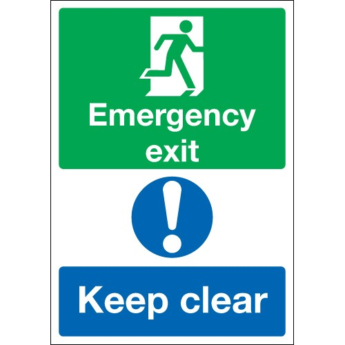 A4 emergency exit keep clear 1.2 mm rigid plastic signs with self adhesive backing.