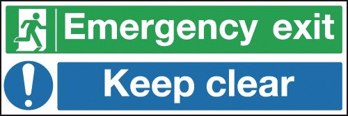 150 x 450 mm emergency exit keep clear 1.2 mm rigid plastic signs with self adhesive backing.