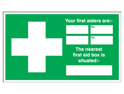 first aid box labels - 150 x 200 mm first aid your first aiders are self adhesive vinyl labels.