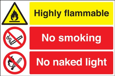 400 x 600 mm highly flammable no smoking 1.2 mm rigid plastic signs with self adhesive backing.