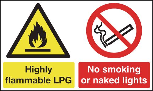 UK smoking signs - 300 x 500 mm highly flammable lpg no smoking self adhesive vinyl labels.