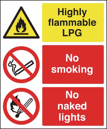 150 x 125 mm highly flammable lpg no smoking self adhesive vinyl labels.