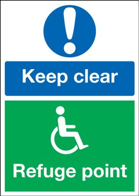 A3 keep clear refuge point 1.2 mm rigid plastic signs.