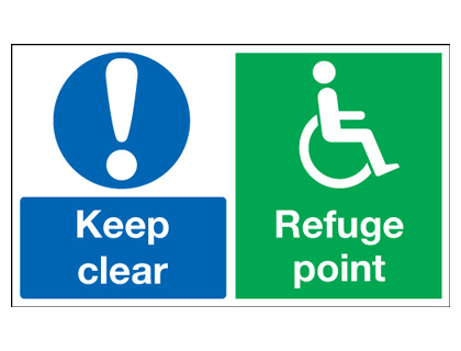 250 x 350 mm keep clear refuge point 1.2 mm rigid plastic signs.