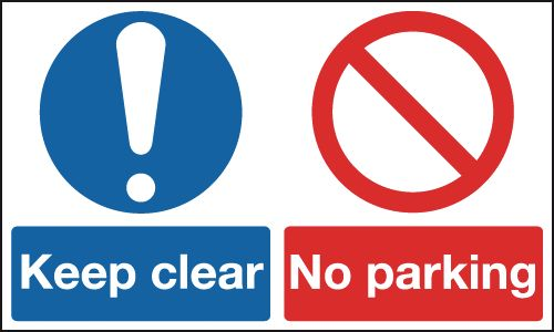 450 x 600 mm keep clear no parking 1.2 mm rigid plastic signs with self adhesive backing.