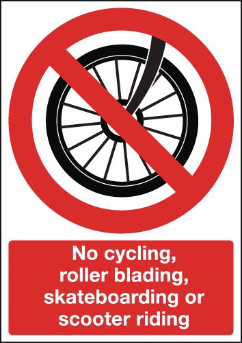 A5 no cycling rollerblading self adhesive vinyl labels.