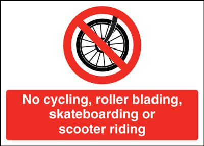 Prohibition signs - 250 x 350 mm no cycling rollerblading self adhesive vinyl labels.