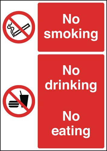 A5 no smoking no drinking no eating 1.2 mm rigid plastic signs with self adhesive backing.
