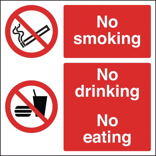 300 x 300 mm no smoking no drinking 1.2 mm rigid plastic signs with self adhesive backing.