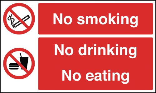 100 x 200 mm no smoking no drinking 1.2 mm rigid plastic signs.