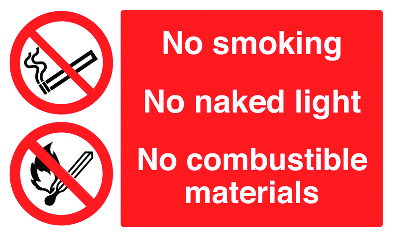 UK smoking signs - 250 x 350 mm no smoking no naked light self adhesive vinyl labels.