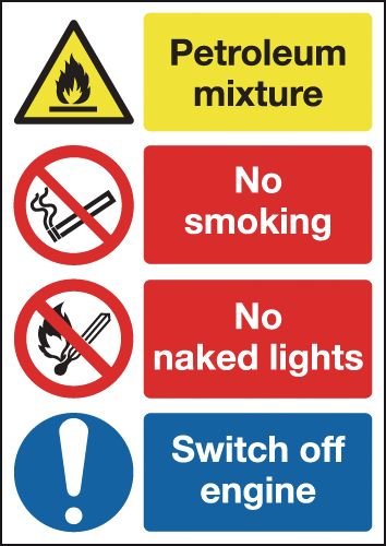 600 x 450 mm petroleum mixture no smoking 1.2 mm rigid plastic signs with self adhesive backing.