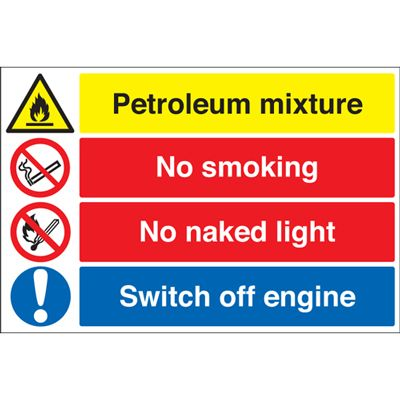 400 x 600 mm petroleum mixture no smoking 1.2 mm rigid plastic signs with self adhesive backing.
