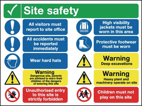600 x 800 mm site safety all visitors must 1.2 mm rigid plastic signs.