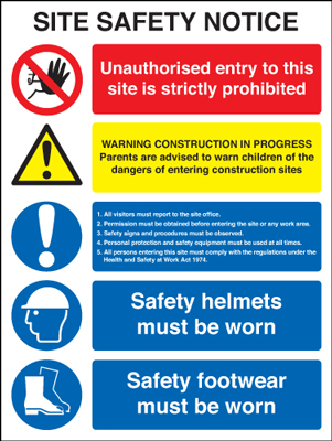 400 x 300 mm site safety notice self adhesive vinyl labels.