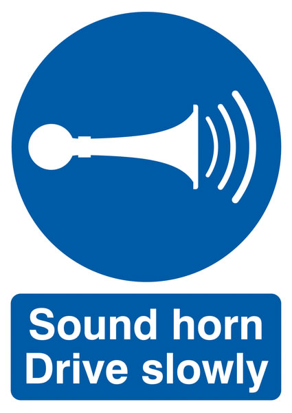 UK hazard signs - A5 sound horn drive slowly self adhesive vinyl labels.