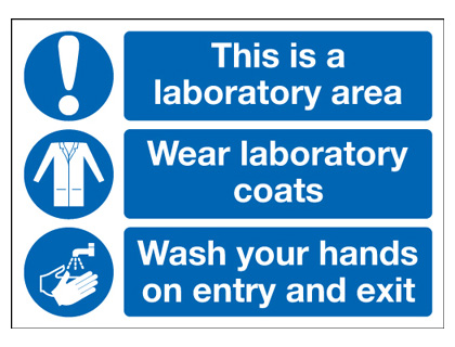UK PPE signs - 250 x 350 mm this is a laboratory area wear self adhesive vinyl labels.
