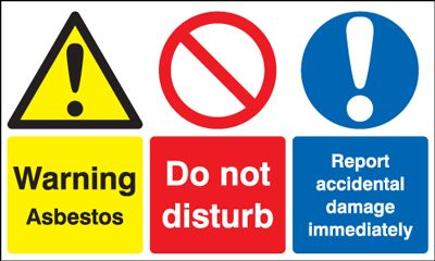 100 x 200 mm warning asbestos do not disturb 1.2 mm rigid plastic signs with self adhesive backing.