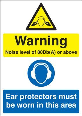 UK warning signs - 150 x 125 mm warning noise level of 80db(a) self adhesive vinyl labels.