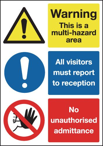 A4 warning this is a multi hazard area 1.2 mm rigid plastic signs.