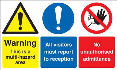 UK warning signs - 300 x 500 mm warning this is a multi hazard self adhesive vinyl labels.