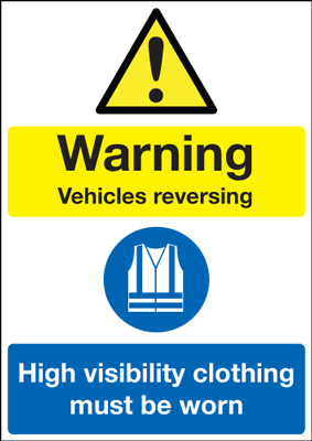 A2 warning vehicles reversing high self adhesive vinyl labels.