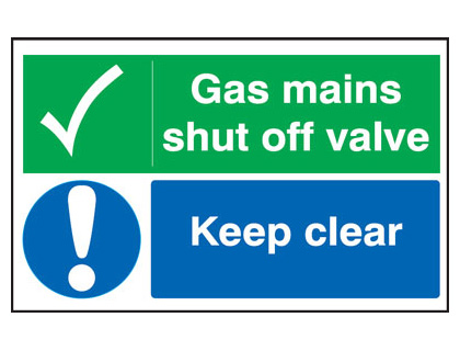 300 x 500 mm gas mains shut off valve keep self adhesive vinyl labels.