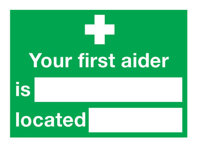 first aid box labels - 150 x 200 mm your first aider is located self adhesive vinyl labels.