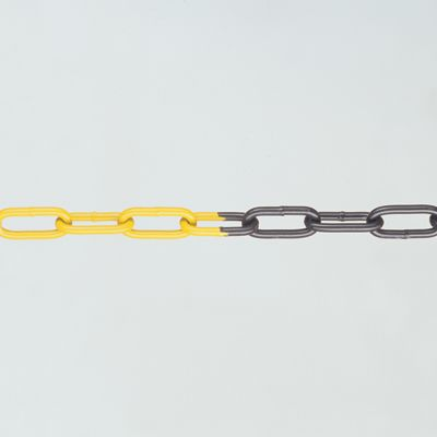 Queue barrier systems - 8 mm Diameter steel chain 5 metre black / yellow
