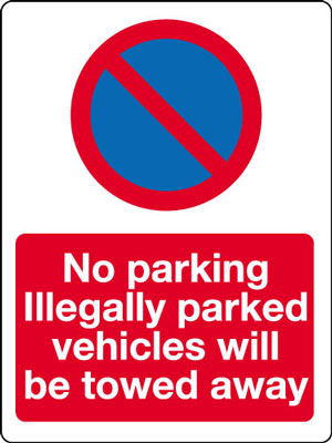 400 x 300 mm no parking illegally parked
