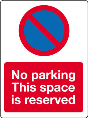 400 x 300 mm no parking space is reserved