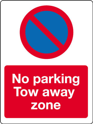 400 x 300 mm no parking tow away zone