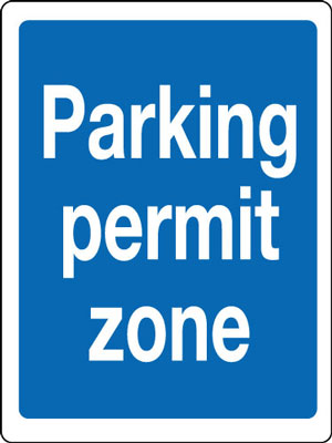 400 x 300 mm parking permit zone