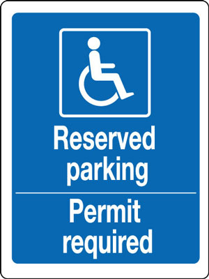 400 x 300 mm reserved parking permit required